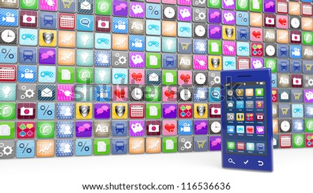 Large number of smartphone icons with a modern blue smartphone at the side. Selective focus on the phone.  Note to reviewer: Smartphone and icon graphics are designed by the contributor.