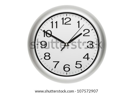 Large office wall clock showing time isolated on white - stock photo