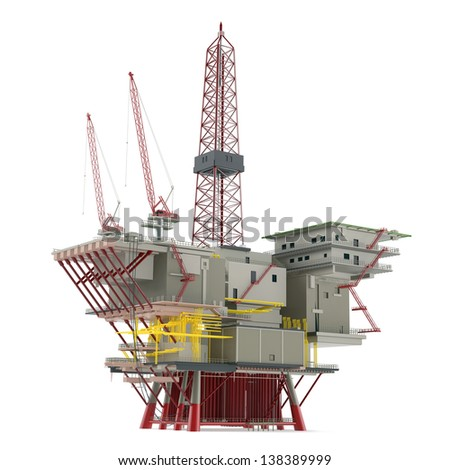 Large Oil Platform with area for helicopters and several cargo cranes.