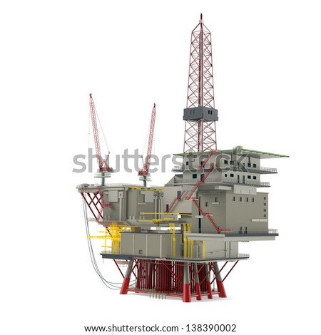 Large Oil Platform with area for helicopters and several cargo cranes. Oil Platform image, Oil Platform illustration, Oil Platform 3d, Oil Platform pump, Oil Platform crane, Oil Platform drill