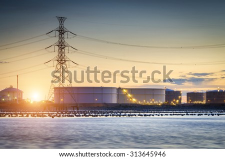 Large oil tank in the morning , Oil Refinery factory , petrochemical plant , Petroleum