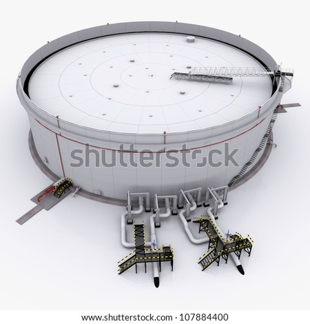 Large oil tank with floating roof. isolated on white background