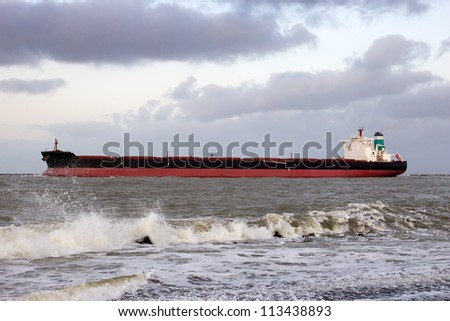 Large oil tanker leaving the port of Rotterdam, The Netherlands