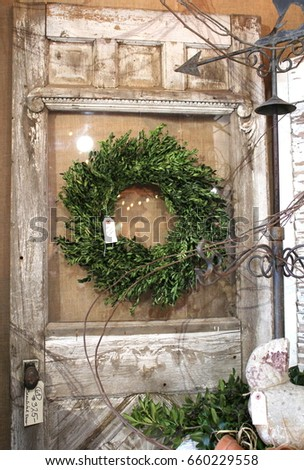 175096c8a5c Large old chippy white painted door with clear glass window with green  olive branch wreath shabby