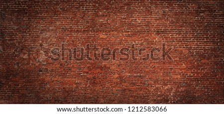 Large Old Red Brick Wall Background. Vintage Brickwall Texture. Panoramic Web banner or Wallpaper With Copy Space.