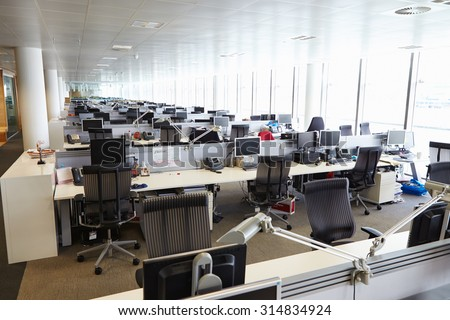 Large open plan office interior without people