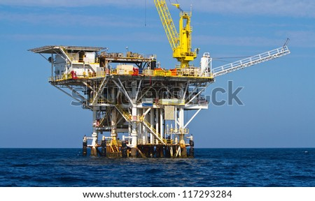 Large Pacific Ocean offshore oil rig drilling platform off the southern coast of California, between Ventura and the Channel Islands