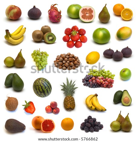 large page of fruits and nuts on white background