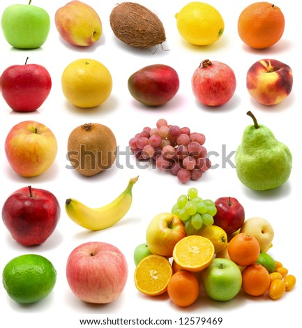 large page of fruits isolated on the white background
