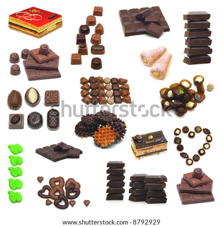 large page of sweets o white background