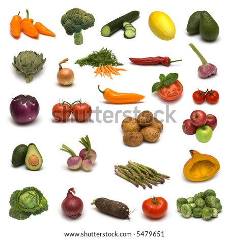 large page of vegetables and fruits on white background - stock photo