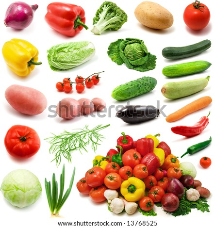 large page of vegetables isolated on the white background