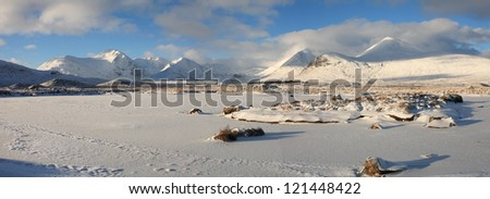 Large panorama of a frozen Loch Buidhe and a snow covered  Black Mount on Rannoch Moor.