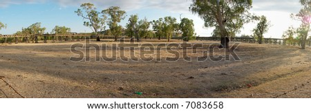 large panorama of gundagai showing the wooden road bridge and railway bridges in the middle of the drought