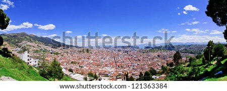 Large panorama of Quito old historic center, ecuador
