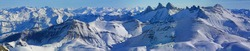 Large panoramic view from the Pic Blanc (white peak) with The Aiguilles d'Arves at 3,514 meters (11,529 feet), Savoie department, French alps, France