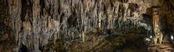 Large panoramic view on stalactites and stalagmites at the Caves of Barac in the municipality of Rakovica, Croatia.