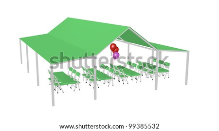large party awning with tables, chairs, and balloons on white