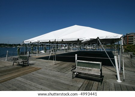 large party tent set up on pier
