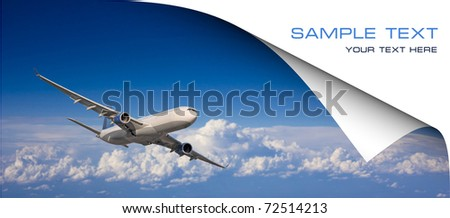 Large passenger plane flying in the blue sky. Postcard