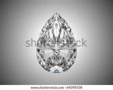 Large pear cut diamond over grey background