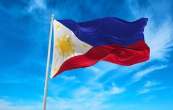 Large Philippines flag waving in the wind