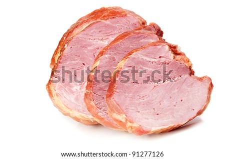 large piece of meat isolated on a white background