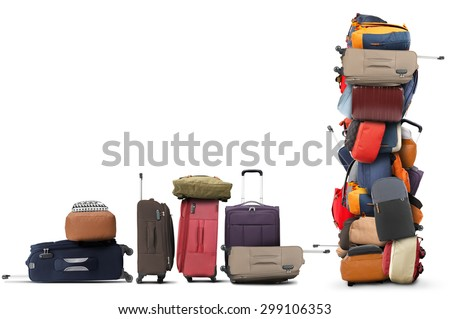 Large pile of bags and suitcases, travel