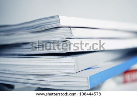 large pile of old magazine closeup