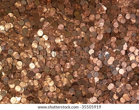 Large pile of shinny American Lincoln pennies.