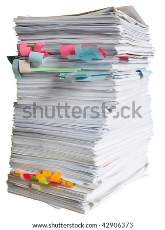 Large pile of waste paper isolated on white background with clipping path