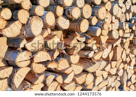 Large pile or stock of firewood for heating furnace. Logs and logs of birch. The log is split in half. Slice as a circle, semicircle. Background, backdrop, texture. Side view.