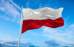 Large poland flag waving in the wind