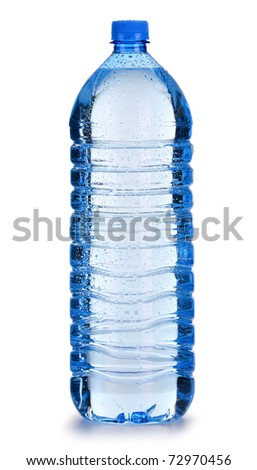 Large polycarbonate plastic bottle of mineral water isolated on white background - stock photo