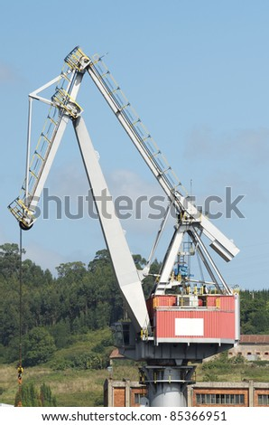 large port crane in the port of Aviles, Asturias,  Spain
