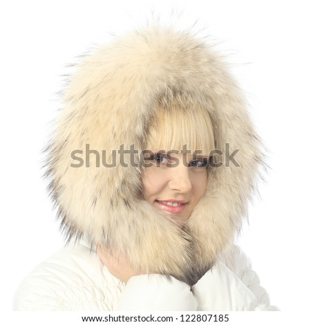 Large portrait of blonde girl in warm jacket with a hood #122807185