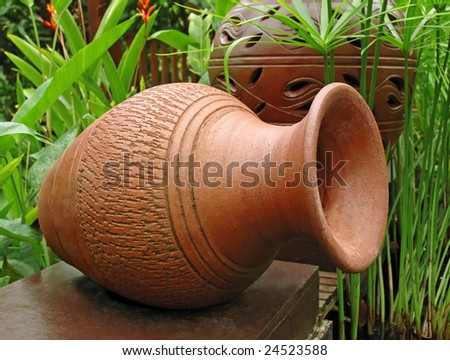 large pot in the garden