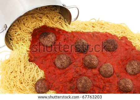 Large pot of spaghetti noodles with meatballs and sauce spilled out on white background.