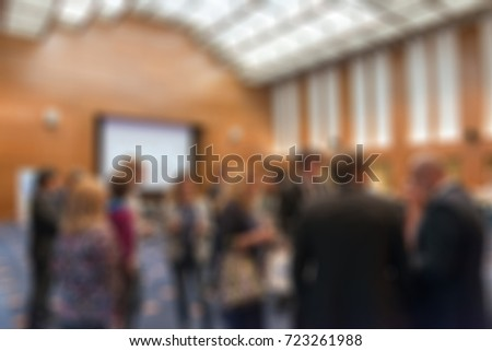 Large press conference convention theme creative abstract blur background with bokeh effect #723261988