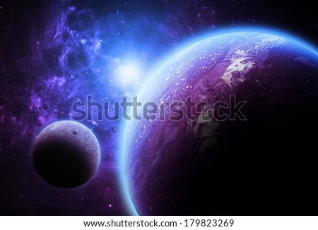 Large Purple Planet and Moon - Elements of this Image Furnished by NASA