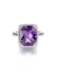 Large Rectangle purple amethyst cushion cut diamond halo fashion cocktail or engagement ring.