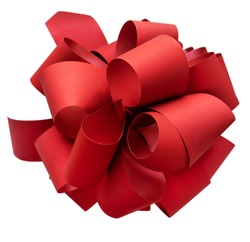 Large red bow on a white background, top view. Beautiful festive bow for gift, gift wrapping, banner, advertisement, congratulation.