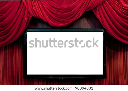 Large red curtain/Red Velvet Theater curtains/Empty tv set. screen is ready for adding a picture - stock photo