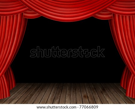 Large red curtain stage opening with black background