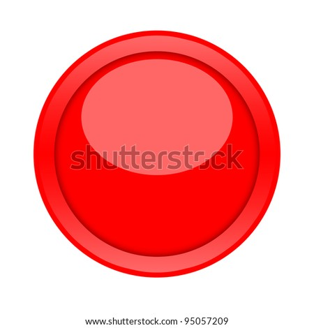 Large red glossy button isolated on white background