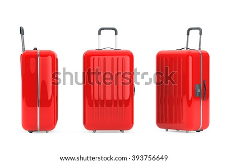 Shutterstock Large Red Polycarbonate Suitcases on a white background