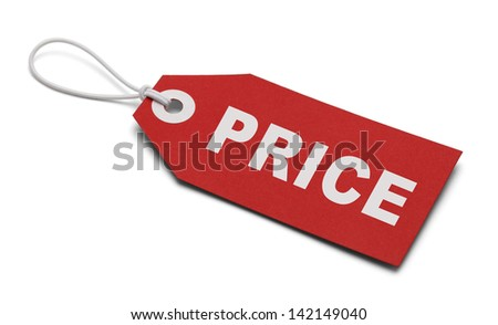 Large Red Tag with the word Price Isolated on White Background. #142149040