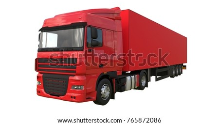 Large red truck with a semitrailer. Template for placing graphics. 3d rendering