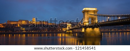 Large resolution panoramic shot of the Chain Bridge and Buda castle in Budapest.