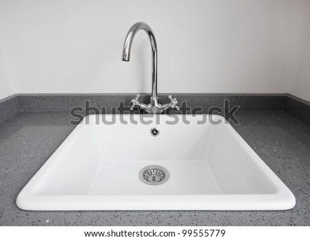 Large Retro Style White Ceramic Kitchen Sink Stock Photo 99555779 ...
